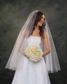 Fingertip Wedding Veils Ivory 2 Layers 42 Long Veils White Drop Bridal Veils Double Layers Circular Cut Edge