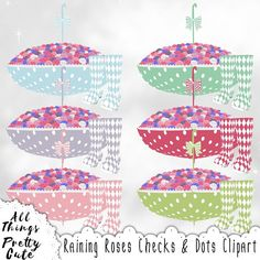 Spring Clipart Raining Roses Checks & Dots, commercial use clipart, red harlequin, blue harlequin, blue checkered, red checkered, polka dot Purple Roses, White Roses, White Lace, Baby Shower Clipart, Polka Dot, Dots, Harlequin Pattern, Pretty And Cute, Commercial