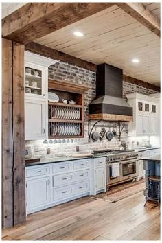 Modern Farmhouse Interiors, Farmhouse Style Kitchen, Modern Farmhouse Kitchens, Farmhouse Plans, Country Kitchen Designs, Farmhouse Renovation, Farmhouse Remodel, Big Kitchen, French Kitchen