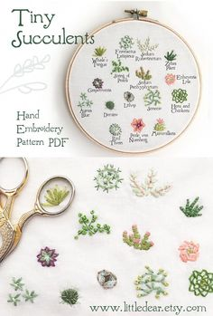 craft patterns and kits made just for you by littledear Stitch up these cute, tiny succulents with this PDF Hand Embroidery Pattern from little dear!Stitch up these cute, tiny succulents with this PDF Hand Embroidery Pattern from little dear! Embroidery Patterns Free, Hand Embroidery Stitches, Learn Embroidery, Embroidery Hoop Art, Hand Embroidery Designs, Embroidery Techniques, Ribbon Embroidery, Cross Stitch Embroidery, Hand Stitching