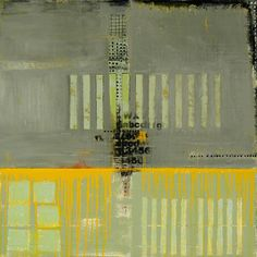 "Judy Campbell, Grand Mesa, mixed media on canvas, 40"" x 40"". yellow and grey"