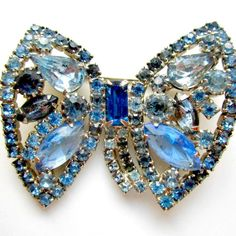 Vintage Rhinestone Brooch Weiss Midnight Blue by nanascottagehouse, $55.00