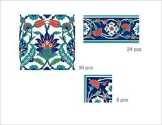 Istanbul Kitchen/ Bathroom Tile/wall Decals  Single Design Pattern With  Border : 44 Pcs