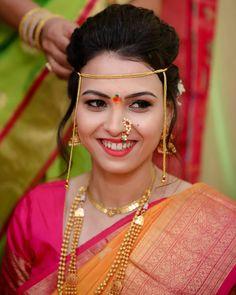 Saree Wedding, Wedding Wear, Real Indian Girls, Marathi Bride, Wedding Saree Collection, Nauvari Saree, Indian Bride And Groom, Glamorous Makeup, Attractive Girls