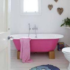 Bathroom - pink claw foot tub by Faracoolkara