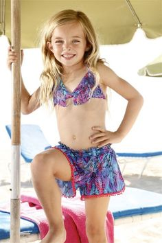 Peixoto Kids Beach Shorts - The Peixoto Kids Shorts are both fabulous and necessary. Little Peixoto swimwear can be paired with these Designer Kids Beach Shorts to create the perfect outfit. Their loose fit and cute accents assure your girl will be both comfortable and stylish for her beach day.