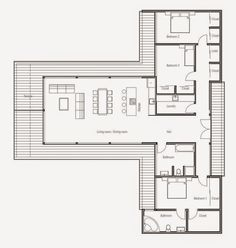 24 Ideas container house floorplan open floor for Modern Contemporary House Plan with three bedrooms and . Small Modern House Plans, Modern Farmhouse Plans, Modern House Design, The Plan, How To Plan, Rambler House Plans, Plan Chalet, Modern Contemporary Homes, Contemporary Architecture