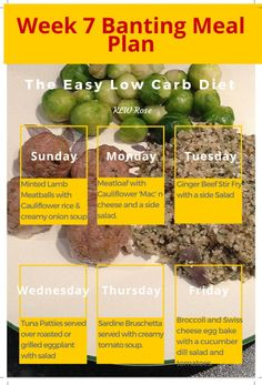 Week 7 Banting Meal Plan: The Easy Low Carb Diet. I've already lost a little over a dress size using the Banting Diet. I feel so much healthier and have so much energy! Banting Diet, Banting Recipes, Low Carb Recipes, Banting Desserts, Ketogenic Diet, Low Carb Meal Plan, Diet Meal Plans, Low Carb Diet, Ginger Beef