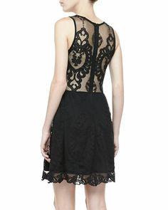 For Love & Lemons Lulu Mesh-Inset Lace Dress - Neiman Marcus