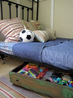 Old drawers also make handy under the bed toy storage. 28 Household Items You Can Repurpose For Your Kids Diy Storage Bed, Under Bed Storage, Toy Storage, Storage Ideas, Drawer Storage, Bedroom Storage, Storage Solutions, Repurposed Furniture, Diy Furniture