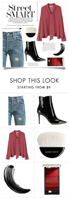 """""""Untitled #529"""" by lily1lol ❤ liked on Polyvore featuring Levi's, Gianvito Rossi, MANGO, Giorgio Armani, Maybelline and L'Oréal Paris"""
