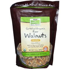 Now Foods, Real Food, Certified Organic Raw Walnuts, Unsalted, 12 oz (340 g)