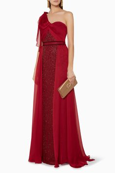 Shop Jenny Packham Red Atomic-Red One-Shoulder Ophelia Gown for Women Formal Gowns, Strapless Dress Formal, Prom Dresses, Long Dresses, High Fashion, Luxury Fashion, Womens Fashion, Gown Suit, Jenny Packham