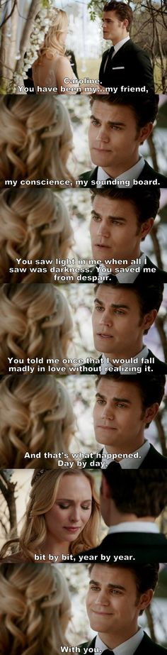 The Vampire Diaries TVD - Steroline Omg this moment of love and happiness 😢😢😢😢 Vampire Diaries Quotes, Vampire Diaries Stefan, Vampire Diaries Cast, Vampire Diaries The Originals, Caroline Forbes, Stefan And Caroline, The Cw, Vampire Daries, Vampires And Werewolves
