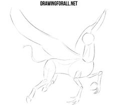 In this lesson we want to show you how to draw a hippogriff - a magical creature: a horse-griffin (while the griffin itself is a cross between a lion and an eagle). Drawing Things, Drawing Stuff, Drawing Sketches, Drawing Ideas, Sketching, Mystical Creatures Drawings, Mystical Animals, Creature Drawings, Cute Creatures