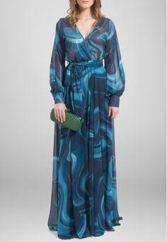 Vestido longo de manga comprida fluído tons de azul Powerlook - powerlook-V-MOB