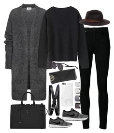 """Inspired outfit for travelling"" by pagesbyhayley ❤ liked on Polyvore featuring moda, Paige Denim, Acne Studios, Zara, Yves Saint Laurent, NIKE, Banana Republic, Ray-Ban, Christian Dior y Native Union"