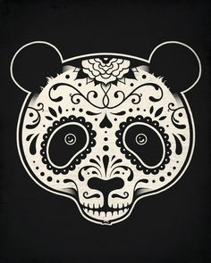 day of the dead panda skull