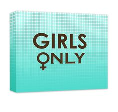 "Girls Only with Female Symbol Canvas and Print Wall Art. Girls only design home decor, chocolate on turquoise plaid gradient, wall art for the bedroom, girl's room, teen room, rec room, in 20 options. Personalize with custom text (add to comments). Available in .75""/1.5"" thick quality artist grade hand-stretched canvas or professional grade luster print, canvas ships ready to hang for ease and convenience, ships in 7-10 business days."
