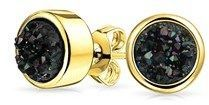 Bling Jewelry Dyed Black Druzy Quartz Stud Earrings Gold Plated 8mm.