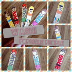 Falling for Washi Tape- Washi Popsicle People Tutorial Washi Tape Crafts, Paper Crafts, Popsicle Art, Art For Kids, Crafts For Kids, Man Crafts, Art Cart, Tape Art, Art Classroom