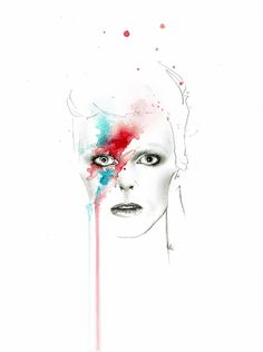 """Bowie"" is printed on high quality matte paper 300 gr from an original painting created with watercolour and pencil.  This artwork is a part of Splash Icons Collection.  Signed by Tania Estevez.  Different sizes available:"