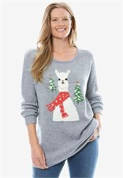 c0ac9d0439c9 Llama Sweater from Women Within Trendy Plus Size, Plus Size Tops, Plus Size  Women