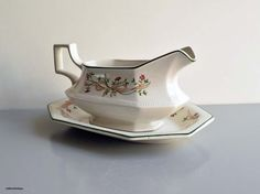 Vintage 1980s  Johnson Brothers Made in England 'Eternal Beau' A Sarina Mascheroni design Octagonal Shape Gravy Boat and Matching Underplate by LittlemixAntique on Etsy