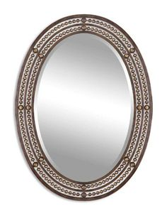 34 Antiqued Bronze and Gold Metal Framed Beveled Oval Wall Mirror -- More info could be found at the image url.