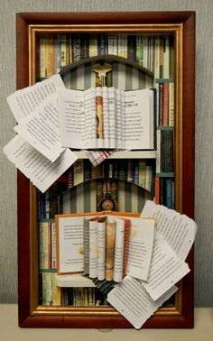 Photos of books glued on a shadow box frame. Torn pages from books laid outward as though they were falling out. Key on top symbolizes books as keys to wisdom and knowledge. Clock stands for the passage of time that we become unaware of, when we are focused on reading a book. I hope this assemblage will remind viewers how valuable books are, just as I was.