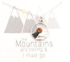 The Mountains are Calling and I Must Go. This mountain necklace features beautiful layers of sterling silver to reveal mountains with sun peeking behind them to depict the sunrise or sunset. This nature inspired necklace will remind you of your favorite place.  MATERIALS Sterling silver and bronze  DIMENSIONS The pendant is 1/2 across  OPTIONS 16 length 18 length (shown)  Thank you for shopping at http://justjaynes.etsy.com  xoxo, Cathy