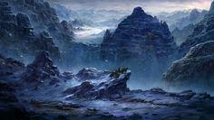 snow land, kevin lee on ArtStation at https://www.artstation.com/artwork/mlLBa