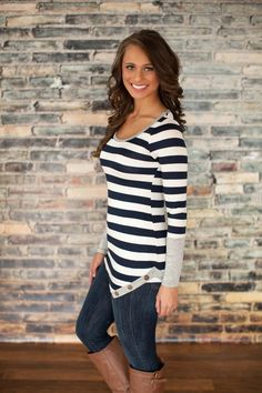 The Pink Lily Boutique - Where I Want To Be Blouse Navy and Grey, $35.00 (http://thepinklilyboutique.com/where-i-want-to-be-blouse-navy-and-grey/)