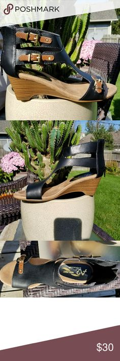 "NWOT Aerosols ""Yet Another"" sandal This wedge is extremely comfortable and goes with just about anything from jeans, skirts,  shorts, dressed, capris etc. The brown and black combo makes these not only versatile, but you can be lazy and not change your purse  to match these babies!! AEROSOLES Shoes Sandals"