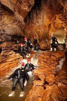 Black water rafting in Waitomo Glow worm caves, New Zealand