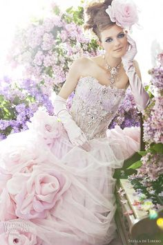 Pretty, romantic wedding dresses from Stella de Libero new bridal collection, The Lilac. Above and below, pale pink ball gown featuring gathered tulle skirt dotted with large roses. So sweet!