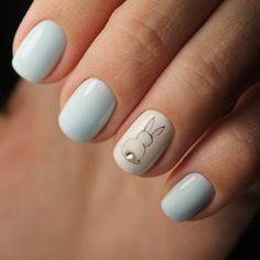 маникюр, нейл арт, ногти, дизайн с зайчиком на короткие ногти, голубой гель-лак, nail art, manicure