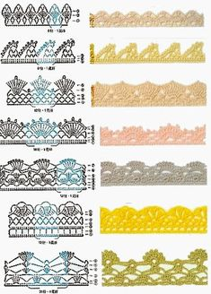 Check out the diagrams and learn to make more than 150 points, (crochet edgings) with images. There are several crochet borders that can be applied in various crochet projects. Choose your favorites… Crochet Border Patterns, Crochet Boarders, Crochet Lace Edging, Crochet Motifs, Crochet Diagram, Crochet Chart, Thread Crochet, Filet Crochet, Crochet Designs