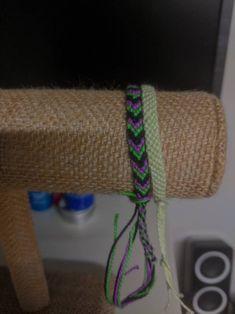 Purple,green and black chevron pattern with light green rows pattern friendship bracelet set by JolieTreasure on Etsy