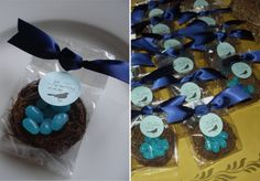 """""""nesting"""" favors for a baby shower"""