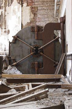 """bank vault """"Gone to Seed"""" Safe Door, Wall Safe, Industrial Furniture, Industrial Style, Banks Vault, Fireproof Waterproof Safe, Shadow Illustration, Antique Safe, Safe Vault"""