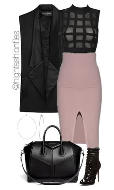 """XXX"" by highfashionfiles ❤ liked on Polyvore featuring Balmain, Schutz, Givenchy and Phyllis + Rosie"