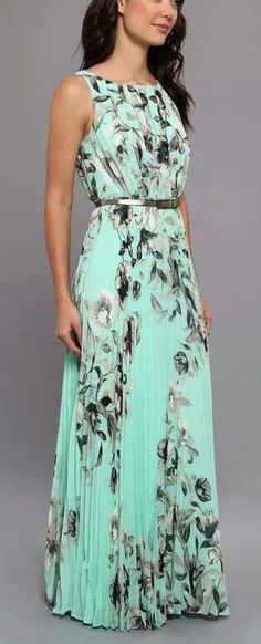 Beautiful Teal and Black Feather Printed Maxi