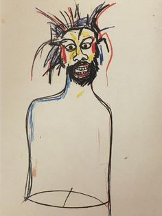 "JEAN-MICHEL BASQUIAT, ""Untitled (Self-Portrait),"" 1984; oilstick and paintstick on paper; 30 by 22 1/2 in."