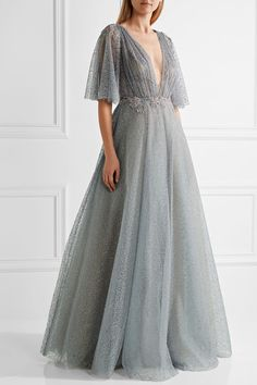 Blue-gray glittered tulle Concealed hook and zip fastening at back viscose, polyester, nylon; Bridesmaid Dresses, Prom Dresses, Wedding Dresses, Long Dresses, Glitter Dress, Pink Glitter, Beaded Evening Gowns, Pink Gowns, Tulle Gown