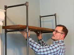 How to Make a Freestanding Industrial Pipe Bookcase.