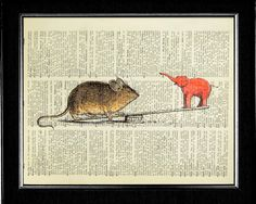 Elephant and Mouse Art Print - The Seesaw Effect via Etsy.