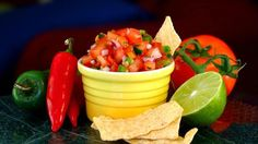 Simple homemade salsa goes perfectly with fresh fried tortilla chips, tacos or burritos. Check out this game day ready salsa recipe!