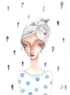 Girl portrait feathers birds red blue portrait by NORAillustration