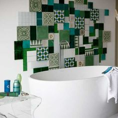 Tile: Why not mix different styles and types for a fun focal point? Brain is creaking now, can you hear it?